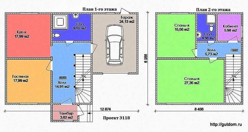Планы 1-го и 2-го этажей
