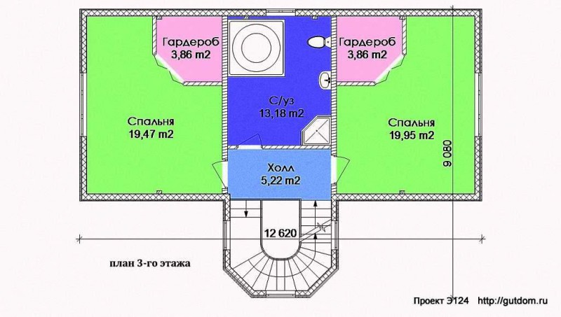 план 3-го этажа коттеджа