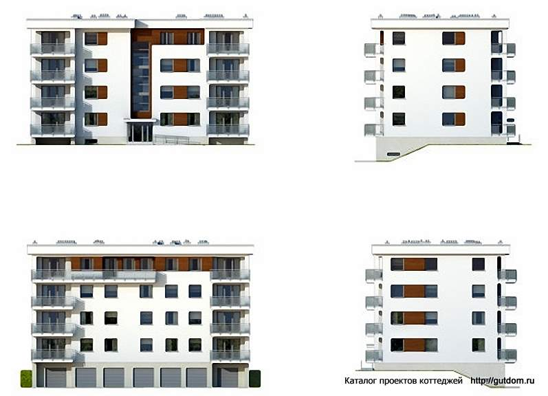 Фасады четырехэтажного дома