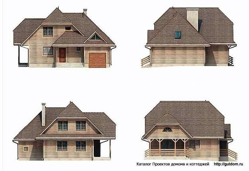 Фасады дома с мансардой