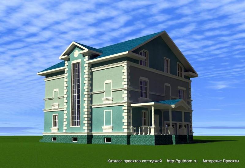 фасад дома с витражом