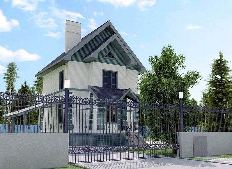 двухэтажный дом с забором
