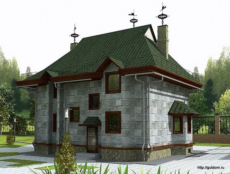 двухэтажный коттедж из газосиликата