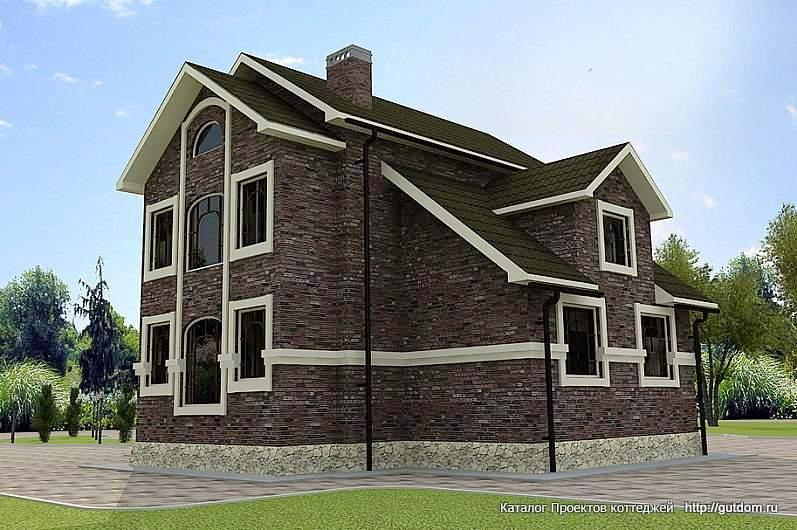 коттедж двухэтажный с эркером