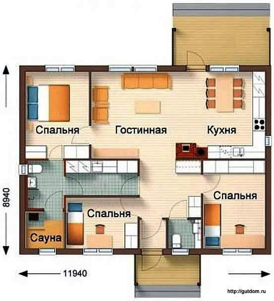 планировка с расстановкой мебели