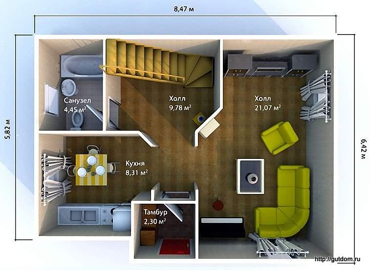 расстановка мебели на этаже