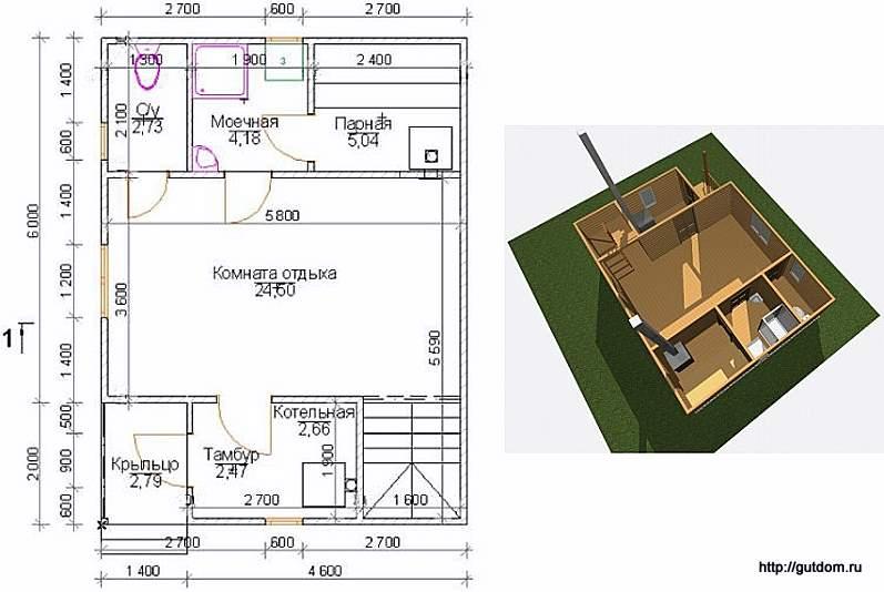 проект бани двухэтажной