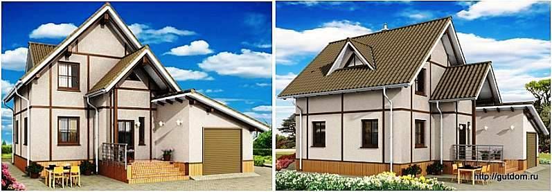 Проект СИП 55 одноэтажного дома с мансардой, два эскиза фасадов