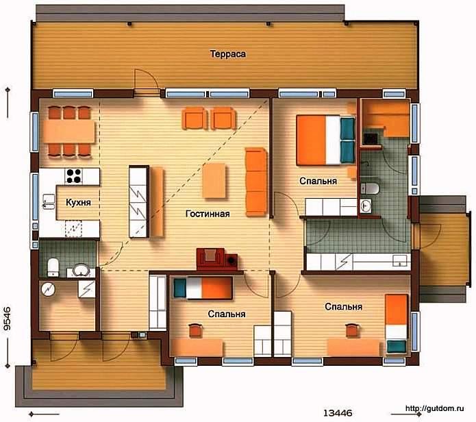 Планировка одноэтажного дома, Проект СИП 57