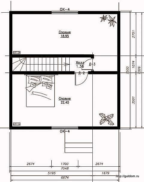 План второго этажа дома, Проект СИП 103