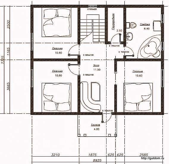 План второго этажа дома, Проект СИП 106