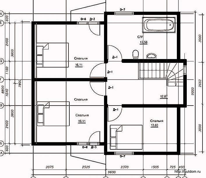 План второго этажа дома, Проект СИП 109