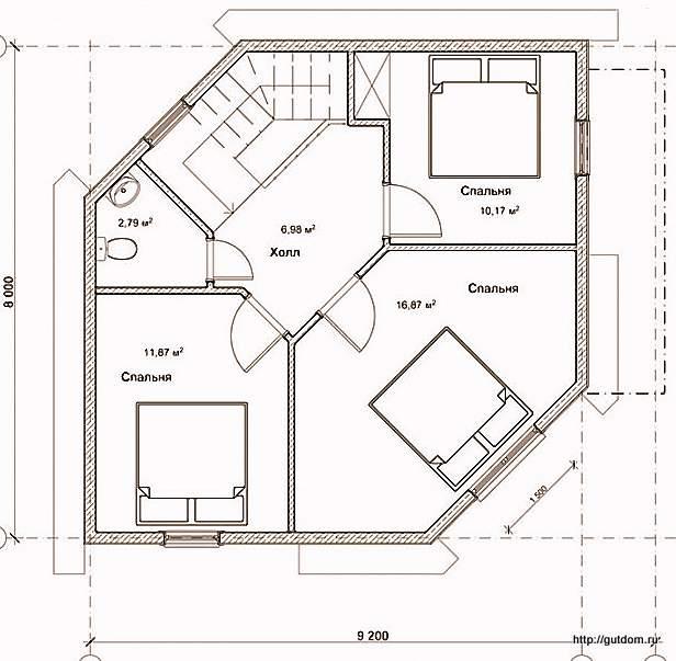 План второго этажа дома, Проект СИП 124