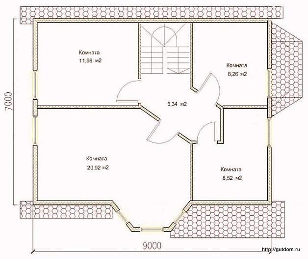 План второго этажа дома, Проект СИП 126