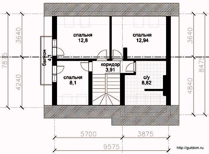 План второго этажа дома, Проект СИП 129