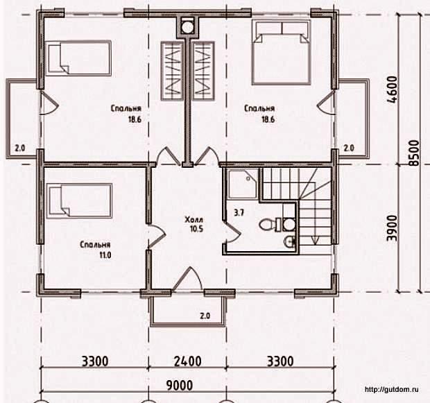План второго этажа дома, Проект 108