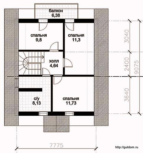 План второго этажа дома, Проект 128
