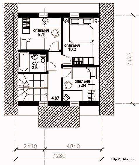 План мансарды дома, Проект СИП 121
