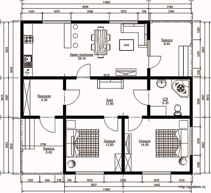 План одноэтажного дома, Проект СИП 98,39