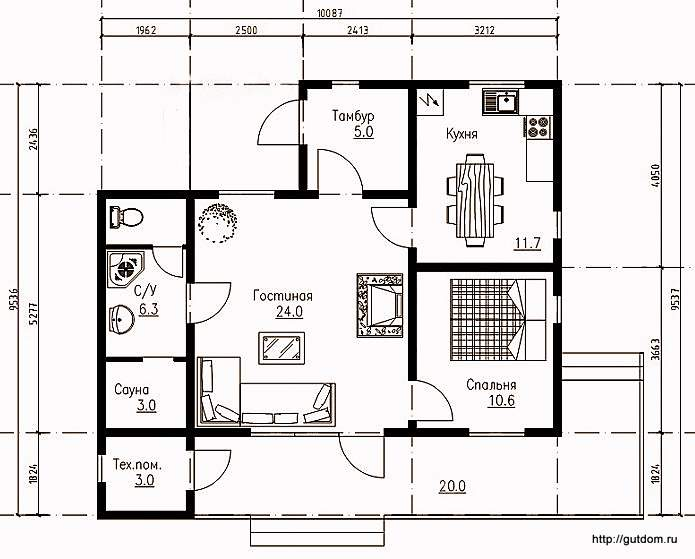 План одноэтажного дома с планировкой, Проект СИП 100