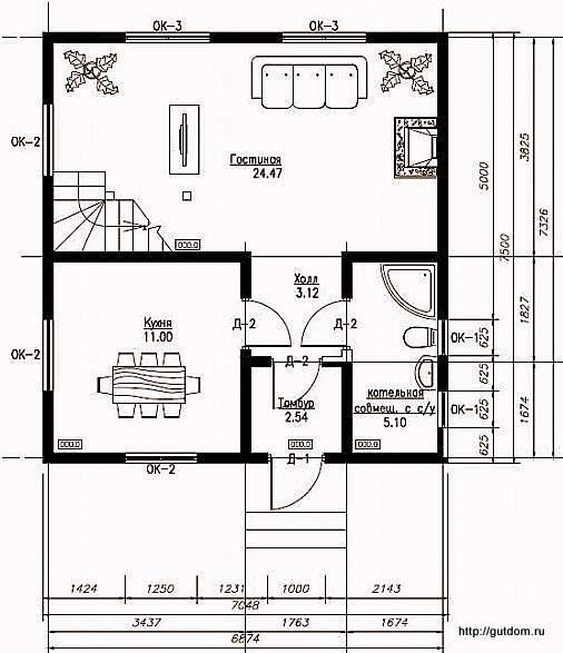 План первого этажа дома, Проект СИП 103