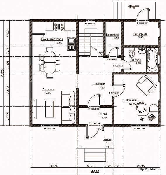 План первого этажа дома, Проект СИП 106