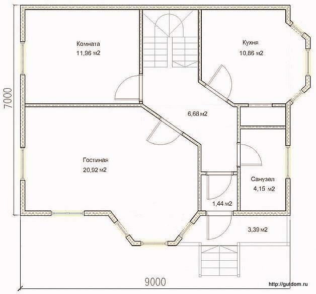 План первого этажа дома, Проект СИП 126