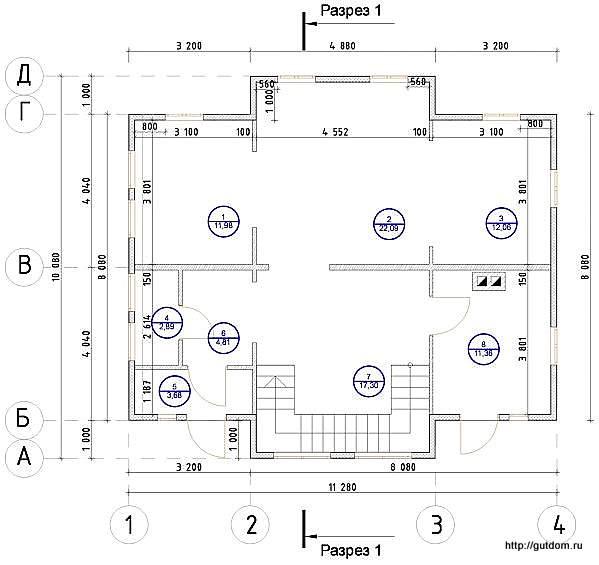План первого этажа дома, Проект СИП 15