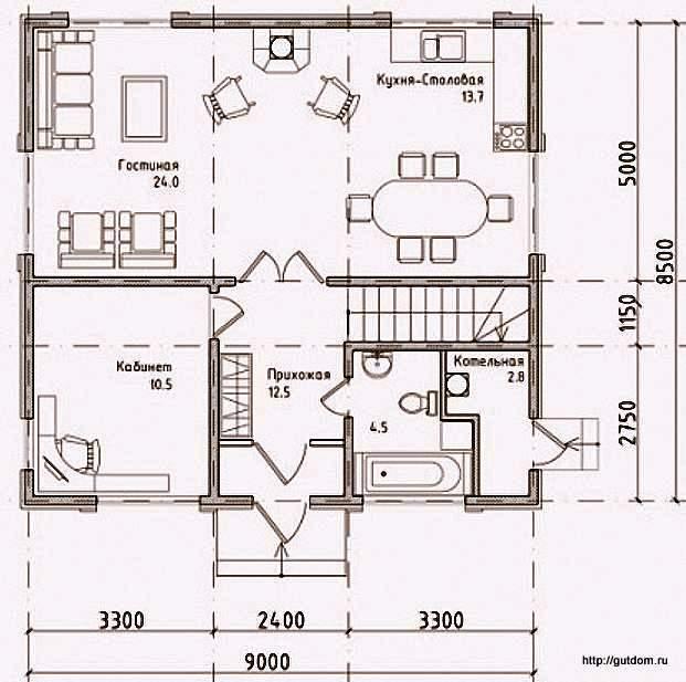 План первого этажа дома, Проект 108