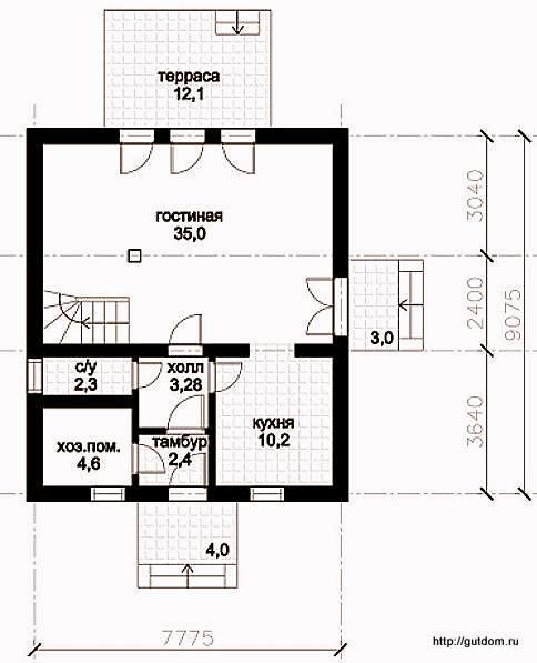 План первого этажа дома, Проект 128