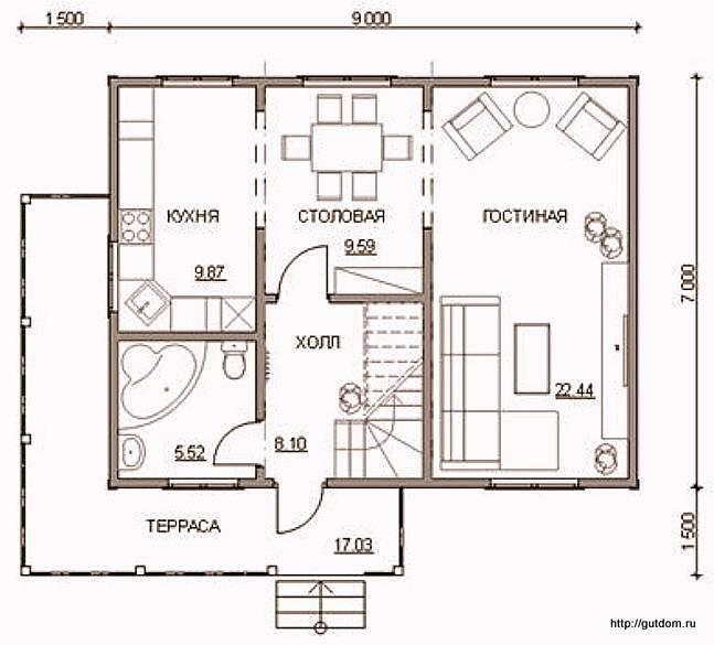 План первого этажа дома к Проекту СИП 53