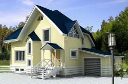 Проект ГБ21 двухэтажного дома из газоблоков с гаражом, эскиз 1