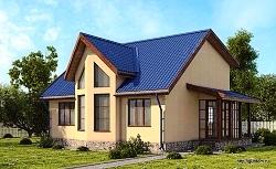 Проект СИП 24 Дом одноэтажный с мансардой из СИП панелей 118,4 м2, ум