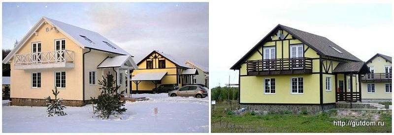 Проект двухэтажного дома СИП 131, построенные коттеджи