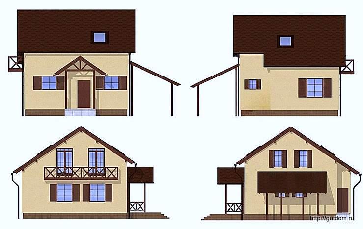 Проект двухэтажного дома СИП 131, эскизы фасадов