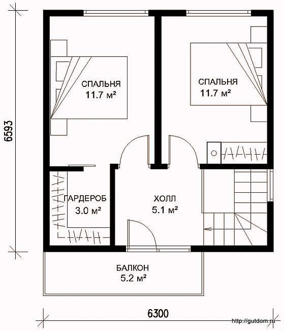 Проект двухэтажного дома СИП 41, план второго этажа