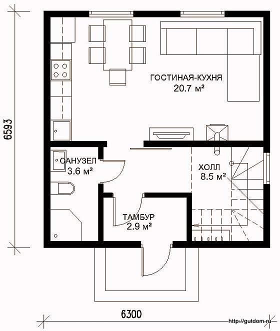 Проект двухэтажного дома СИП 41, план первого этажа