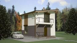 Проект двухэтажного дома СИП 41 площадью 72 м2, эскиз 1