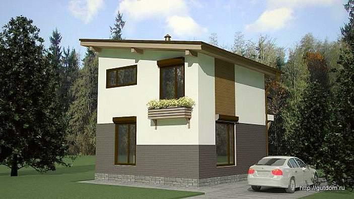 Проект двухэтажного дома СИП 41 площадью 72 м2, эскиз 2