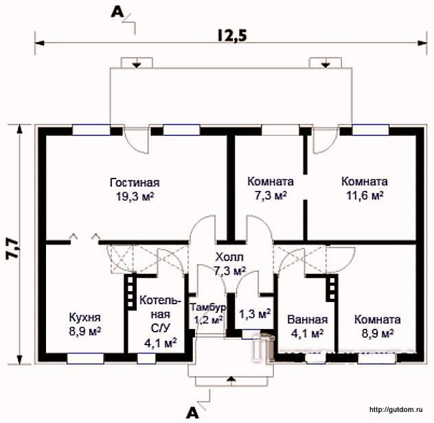 План одноэтажного дома с планировкой помещений