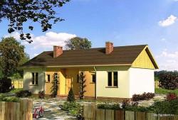Проект одноэтажного дома СИП 42 площадью 74 м2, эскиз 1