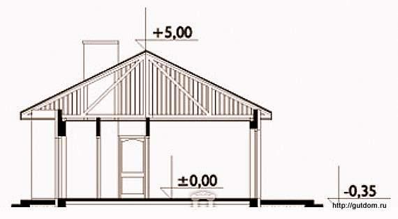 Проект одноэтажного дома СИП 42, разрез с отметками