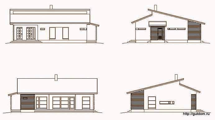 Проект одноэтажного дома СИП 57, эскизы фасадов