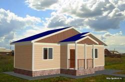 Проект одноэтажного дома дачи СИП 8 площадью 44,75 м2, эскиз