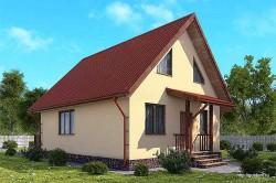 Проект одноэтажного дома с мансардой СИП 23 площадью 111,7 м2, эскиз
