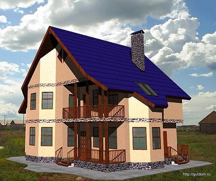 Проект двухэтажного дома СИП 31 общей площадью 201,2 м2, эскиз 1