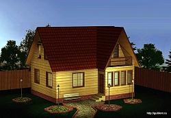 Проект одноэтажного дома с мансардой СИП 54 площадью 114 м2, эскиз 1 ум