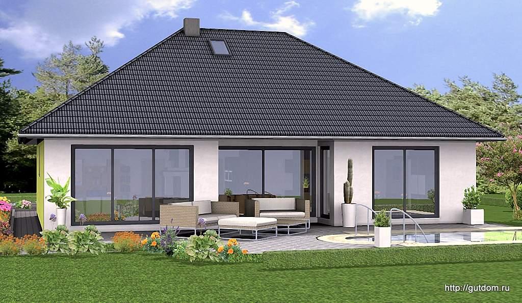 одноэтажные дома с большими окнами проекты фото