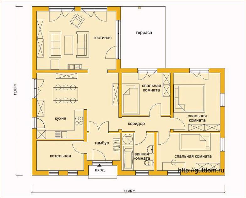 Планировка одноэтажного дома Расстановка мебели Проект ГБ66