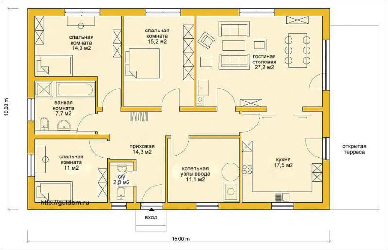 Планировка помещений одноэтажного дома из газобетона Проект ГБ63